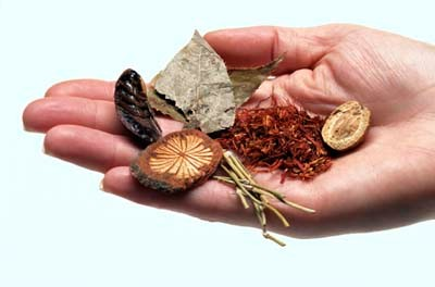 Traditional chinese herbal medicine(left), and acupuncture(right)